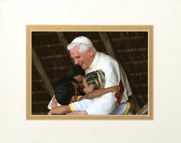 Pope Benedict with Children Matted - No Frame Image