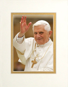 Pope Benedict Waving Matted - No Frame Image