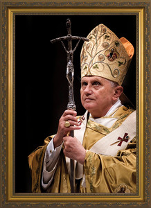 Pope Benedict with Paschal Staff - Standard Gold Framed Art