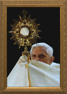 Pope Benedict with Monstrance - Gold Framed Art