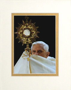 Pope Benedict with Monstrance Matted - No Frame Image