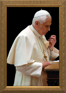 Pope Benedict Praying Rosary - Gold Framed Art