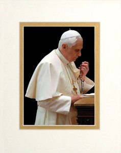Pope Benedict Praying Rosary Matted - No Frame Image