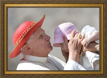 Pope Benedict Kissing Infant - Standard Gold Framed Art