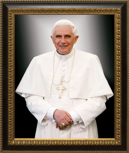Pope Benedict Formal - Ornate Dark Framed Art