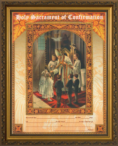Holy Sacrament of Confirmation Certificate Gold Framed