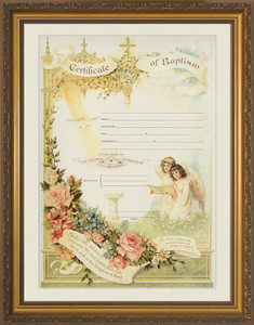 Certificate of Baptism Gold Framed