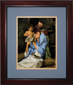Holy Family II by Jason Jenicke Matted - Cherry Framed Art