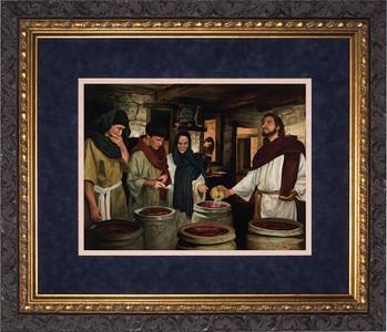 Wedding at Cana by Jason Jenicke Matted - Ornate Dark Framed Art