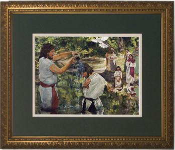 Baptism of Jesus by Jason Jenicke Matted - Standard Gold Framed Art