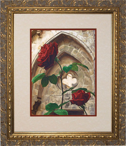 Roses by Jason Jenicke Matted - Ornate Gold Framed Art