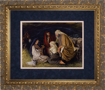 Adoration of the Shepherds by Jason Jenicke Matted - Ornate Gold Framed Art