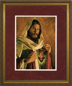 Sacred Heart of Jesus by Jason Jenicke Matted - Standard Gold Framed Art