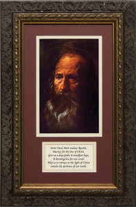 St. Paul (Portrait) by Velazquez Matted with Prayer - Ornate Dark Framed Art