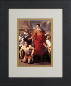 St. Paul Healing the Cripple Matted - Black Framed Art