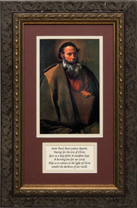 St. Paul by Velazquez Matted with Prayer - Ornate Dark Framed Art