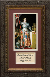 St. Joan of Arc Matted with Prayer - Ornate Dark Framed Art