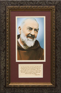 St. Padre Pio Matted with Prayer - Ornate Dark Framed Art