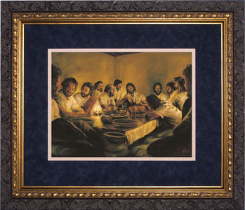 Last Supper by Jason Jenicke Blue Matte - Ornate Dark Framed Art