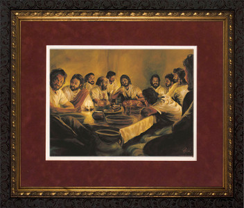 Last Supper by Jason Jenicke Red Matte - Ornate Dark Framed Art