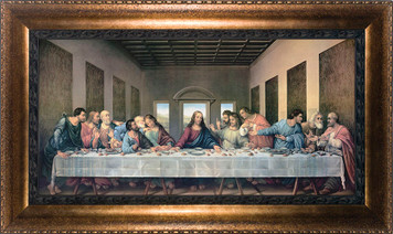 Last Supper by Da Vinci Restored Canvas - Bronze Framed Art