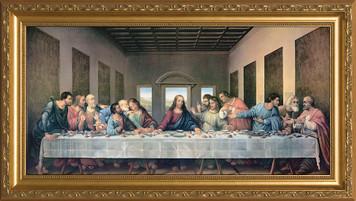 Last Supper by Da Vinci Restored Canvas - Standard Gold Framed Art