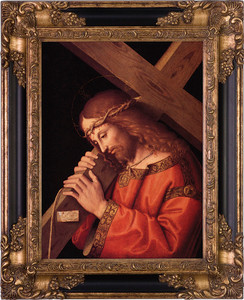 Christ Bearing the Cross Canvas - Black and Gold Museum Framed Art
