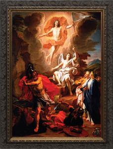 Resurrection of Christ by Coypel Canvas - Ornate Dark Framed Art