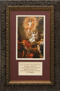 Resurrection of Christ by Coypel Matted with Prayer - Ornate Dark Framed Art