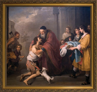 Prodigal Son by Murillo Canvas - Gold Framed Art