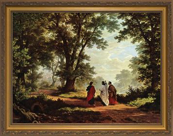 Road to Emmaus Canvas - Standard Gold Framed Art