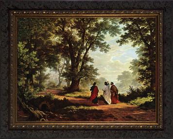 Road to Emmaus Canvas - Ornate Dark Framed Art