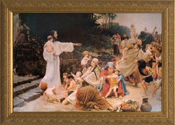 Let the Children Come Canvas - Gold Framed Art