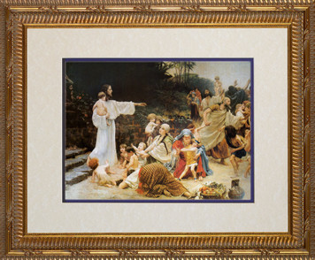 Let the Children Come Matted - Ornate Gold Framed Art