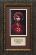 For God So Loved The World Canvas Matted with Prayer - Ornate Dark Framed Art