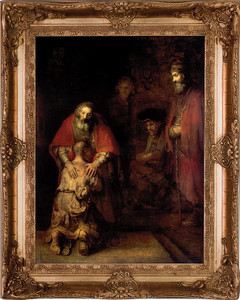 Prodigal Son by Rembrandt Canvas - Gold Museum Framed Art