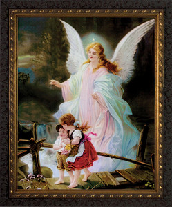 Angel on the Perilous Bridge - Ornate Dark Framed Art