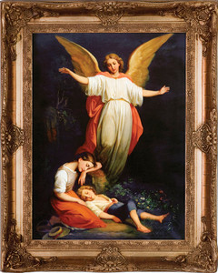 Guardian Angel with Children Resting Canvas - Gold Museum Framed Art