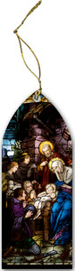 Nativity Stained Glass Wood Ornament