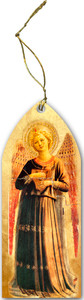 Fra Angelico Angel with Harp Wood Ornament