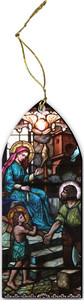 Holy Family Stained Glass Wood Ornament