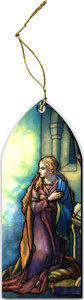 Tiffany Annunciation Mary Stained Glass Wood Ornament