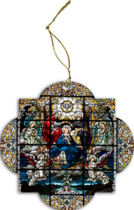 The Coronation Stained Glass Wood Ornament