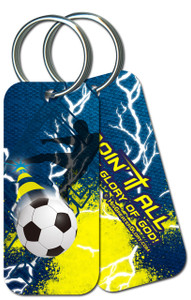 """Doing It All"" Soccer Keychain"