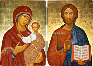 The Virgin of Hodegetria/Christ Pantocrator (Gold) Icon Diptych