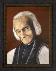 St. John Vianney - Ornate Dark Framed Art