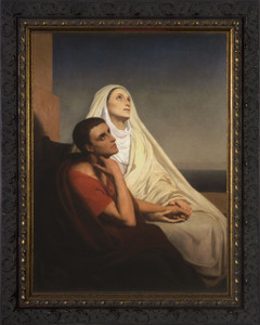 Sts. Monica and Augustine - Ornate Dark Framed Art