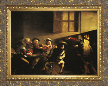 The Calling of St. Matthew (Caravaggio) - Ornate Gold Framed Art