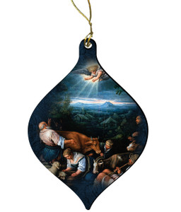 Annunciation to the Shepherds by Leonardo Bassano Wood Ornament