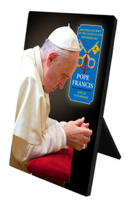 Pope Francis in Prayer Commemorative Apostolic Journey Desk Plaque
